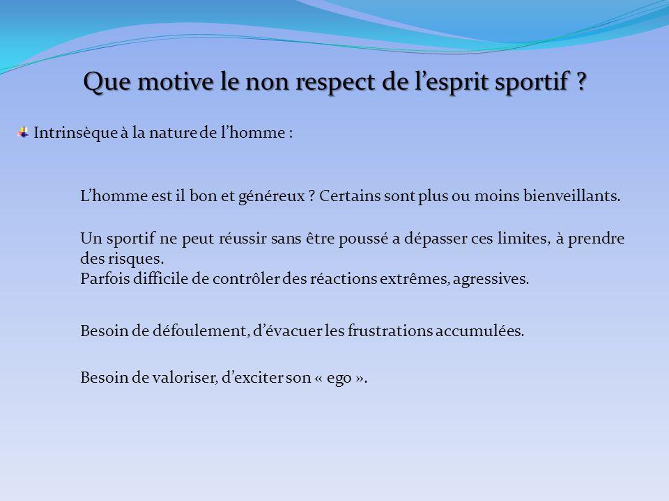 Que motive le non respect de l'esprit sportif ? Intrinsèque à la nature de l'homme : L'homme est il bon et généreux ? Certains sont plus ou moins bien