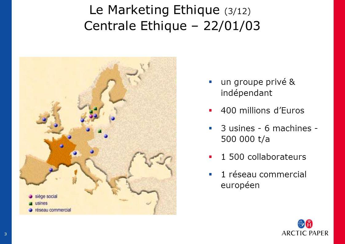 3 Le Marketing Ethique (3/12) Centrale Ethique – 22/01/03  un groupe privé & indépendant  400 millions d'Euros  3 usines - 6 machines - 500 000 t/a  1 500 collaborateurs  1 réseau commercial européen