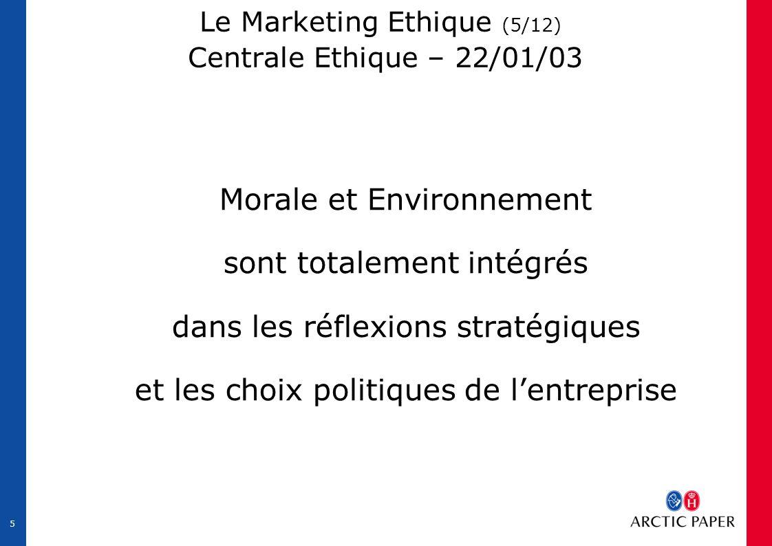 5 Le Marketing Ethique (5/12) Centrale Ethique – 22/01/03 Morale et Environnement sont totalement intégrés dans les réflexions stratégiques et les choix politiques de l'entreprise