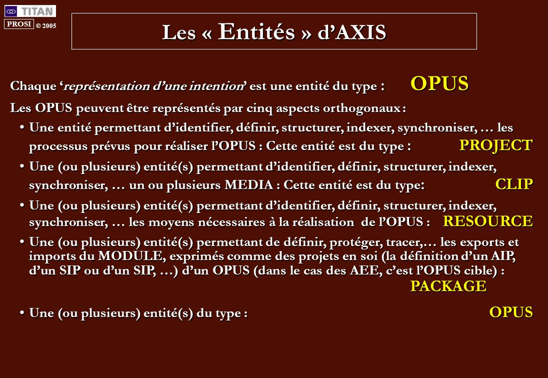 PROSI © 2005 Les « Entités » d'AXIS Chaque 'représentation d'une intention' est une entité du type : OPUS Les OPUS peuvent être représentés par cinq aspects orthogonaux : Une entité permettant d'identifier, définir, structurer, indexer, synchroniser, … les processus prévus pour réaliser l'OPUS : Cette entité est du type :PROJECTUne entité permettant d'identifier, définir, structurer, indexer, synchroniser, … les processus prévus pour réaliser l'OPUS : Cette entité est du type :PROJECT Une (ou plusieurs) entité(s) permettant d'identifier, définir, structurer, indexer, synchroniser, … un ou plusieurs MEDIA : Cette entité est du type :CLIPUne (ou plusieurs) entité(s) permettant d'identifier, définir, structurer, indexer, synchroniser, … un ou plusieurs MEDIA : Cette entité est du type :CLIP Une (ou plusieurs) entité(s) permettant d'identifier, définir, structurer, indexer, synchroniser, … les moyens nécessaires à la réalisation de l'OPUS : RESOURCEUne (ou plusieurs) entité(s) permettant d'identifier, définir, structurer, indexer, synchroniser, … les moyens nécessaires à la réalisation de l'OPUS : RESOURCE Une (ou plusieurs) entité(s) permettant de définir, protéger, tracer,… les exports et imports du MODULE, exprimés comme des projets en soi (la définition d'un AIP, d'un SIP ou d'un SIP, …) d'un OPUS (dans le cas des AEE, c'est l'OPUS cible) : PACKAGEUne (ou plusieurs) entité(s) permettant de définir, protéger, tracer,… les exports et imports du MODULE, exprimés comme des projets en soi (la définition d'un AIP, d'un SIP ou d'un SIP, …) d'un OPUS (dans le cas des AEE, c'est l'OPUS cible) : PACKAGE Une (ou plusieurs) entité(s) du type : OPUSUne (ou plusieurs) entité(s) du type : OPUS