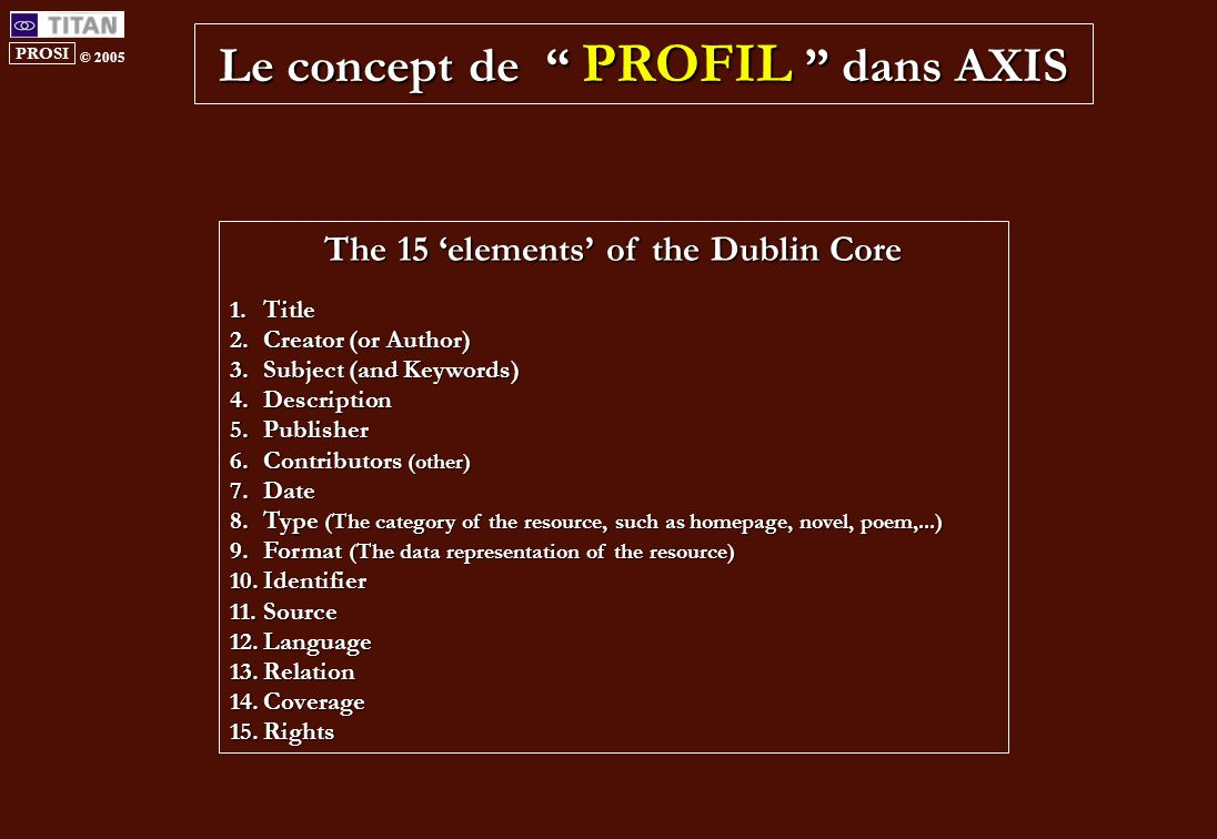 PROSI © 2005 Le concept de PROFIL dans AXIS The 15 'elements' of the Dublin Core 1.Title 2.Creator (or Author) 3.Subject (and Keywords) 4.Description 5.Publisher 6.Contributors (other) 7.Date 8.Type (The category of the resource, such as homepage, novel, poem,...) 9.Format (The data representation of the resource) 10.Identifier 11.Source 12.Language 13.Relation 14.Coverage 15.Rights