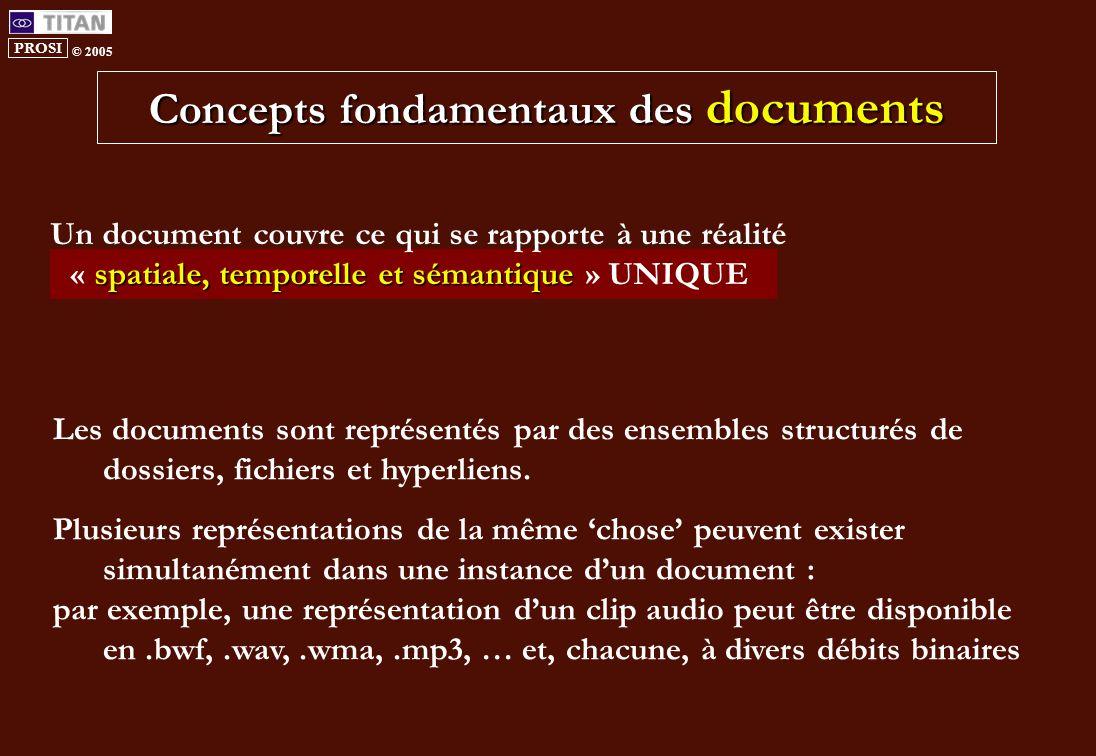 PROSI © 2005 Concepts fondamentaux des documents Les documents sont représentés par des ensembles structurés de dossiers, fichiers et hyperliens.