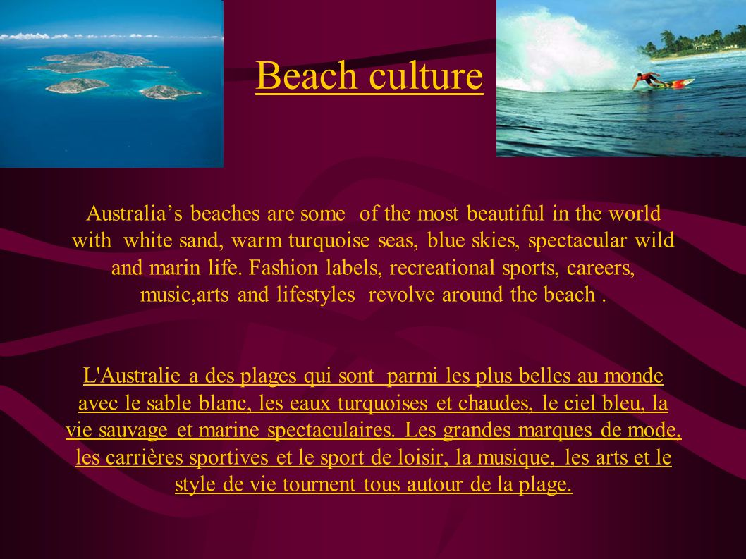 Australia is surrounded by three oceans (the Pacific,the Indian and the Southern), there are 7000 officialy identified beaches around Australia's coastline.80% of the australian population lives within 50km of the coast.