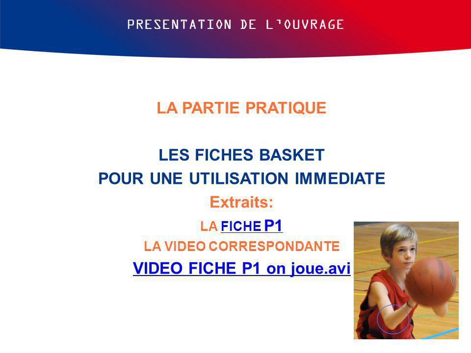 PRESENTATION DE L'OUVRAGE LA PARTIE PRATIQUE LES FICHES BASKET POUR UNE UTILISATION IMMEDIATE Extraits: LA FICHE P1FICHE P1 LA VIDEO CORRESPONDANTE VI