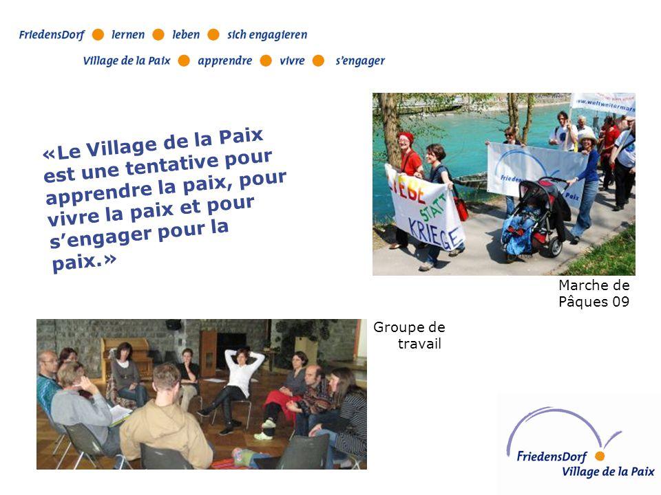 Groupe de travail Marche de Pâques 09 «Le Village de la Paix est une tentative pour apprendre la paix, pour vivre la paix et pour s'engager pour la paix.»