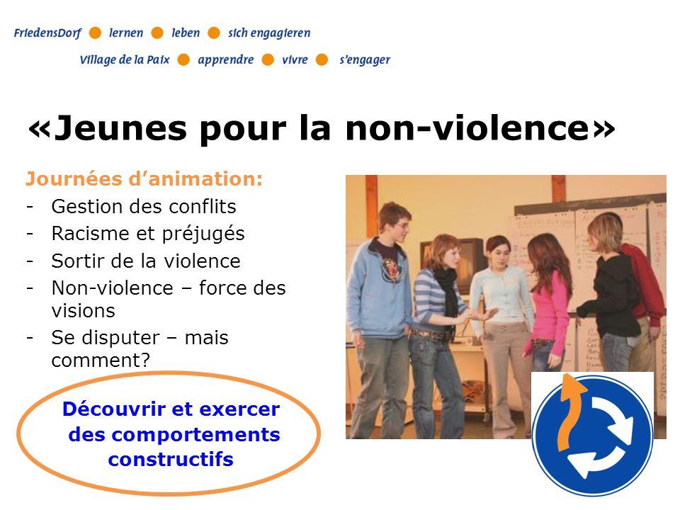 Le travail pour la paix Pilier principal «Jeunes pour la non-violence» Module pour la prévention de la violence et la résolution de conflits pour des groupes de jeunes et d'enfants Formation pour enseignants/es et professionnels/les Parcours de la Paix Publications Matériel thématique