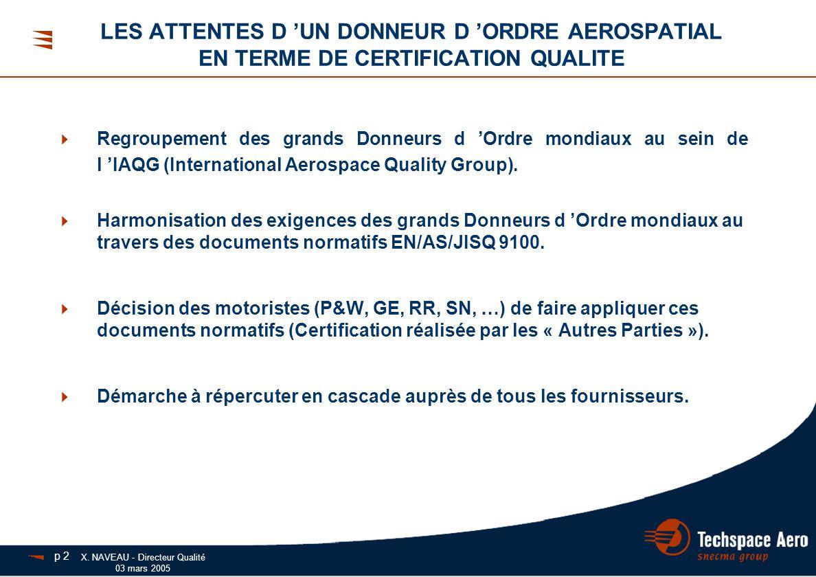 X. NAVEAU - Directeur Qualité 03 mars 2005  Regroupement des grands Donneurs d 'Ordre mondiaux au sein de l 'IAQG (International Aerospace Quality Gr