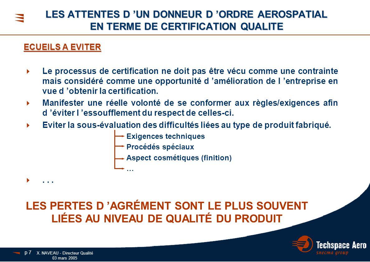 X. NAVEAU - Directeur Qualité 03 mars 2005 ECUEILS A EVITER  Le processus de certification ne doit pas être vécu comme une contrainte mais considéré