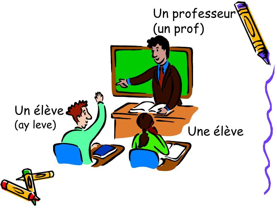 Un professeur (un prof) Un élève (ay leve) Une élève