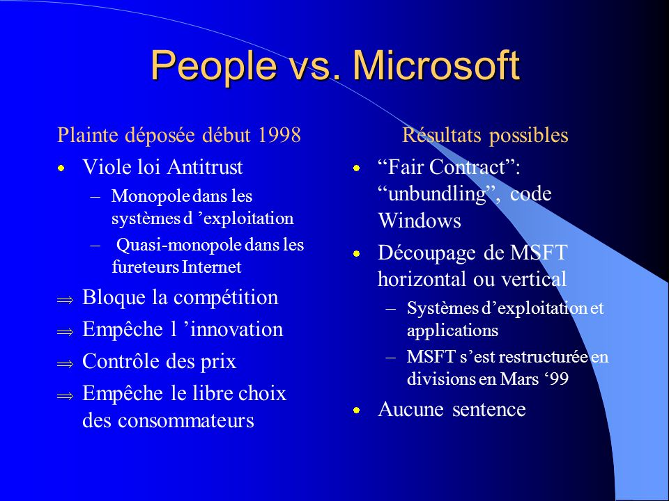 Stratégies MSInternet: Résultats  Microsoft ne domine pas l 'internet mais Netscape racheté par AOL, MSN succès mitigé  Campagne populaire Anti-Micr
