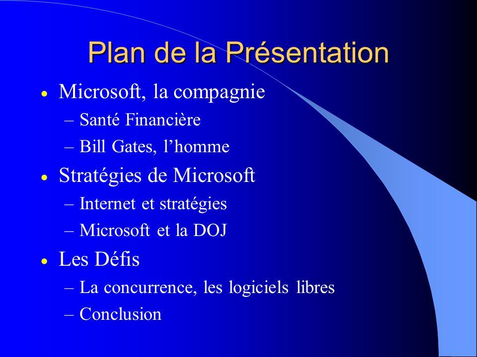 Plan de la Présentation  Microsoft, la compagnie –Santé Financière –Bill Gates, l'homme  Stratégies de Microsoft –Internet et stratégies –Microsoft et la DOJ  Les Défis –La concurrence, les logiciels libres –Conclusion