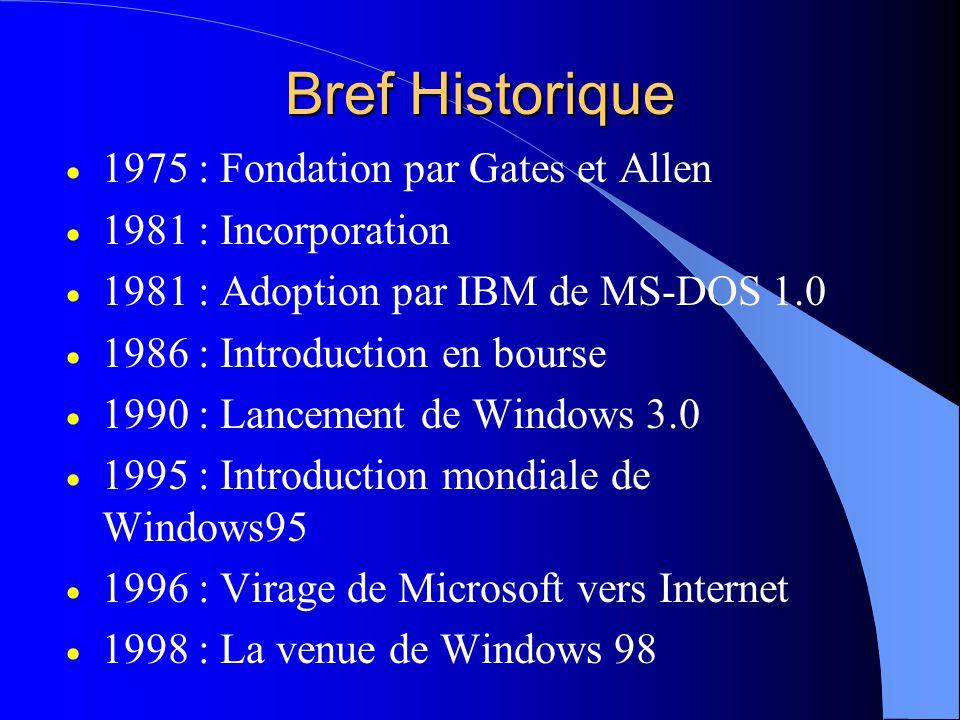 Bref Historique  1975 : Fondation par Gates et Allen  1981 : Incorporation  1981 : Adoption par IBM de MS-DOS 1.0  1986 : Introduction en bourse  1990 : Lancement de Windows 3.0  1995 : Introduction mondiale de Windows95  1996 : Virage de Microsoft vers Internet  1998 : La venue de Windows 98