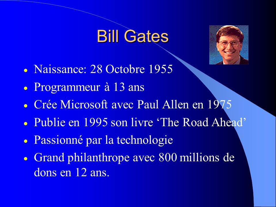 Bill Gates  Naissance: 28 Octobre 1955  Programmeur à 13 ans  Crée Microsoft avec Paul Allen en 1975  Publie en 1995 son livre 'The Road Ahead'  Passionné par la technologie  Grand philanthrope avec 800 millions de dons en 12 ans.