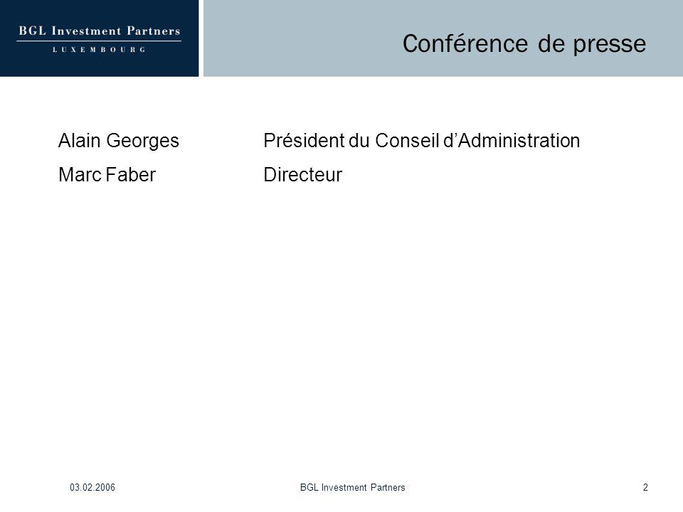 03.02.2006BGL Investment Partners2 Conférence de presse Alain GeorgesPrésident du Conseil d'Administration Marc FaberDirecteur