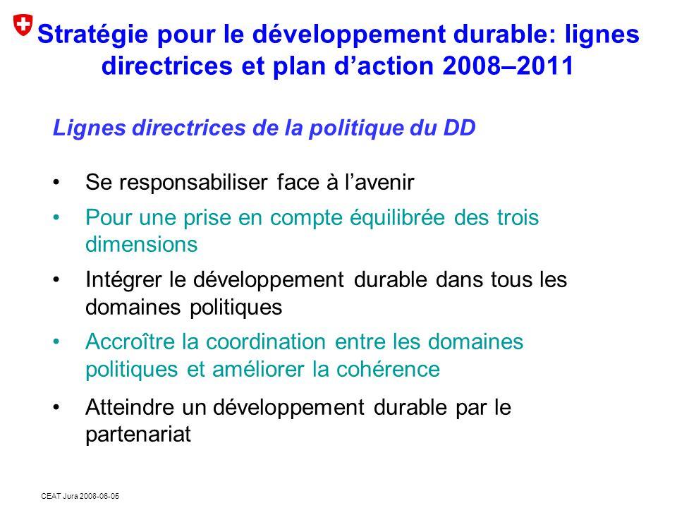CEAT Jura 2008-06-05 Ligne directrice 2.3 « Intégrer le développement durable dans tous les domaines politiques » Le Conseil fédéral conçoit le développement durable non pas comme une politique sectorielle supplémentaire, mais comme une «idée régulatrice» à intégrer dans toutes les politiques sectorielles.