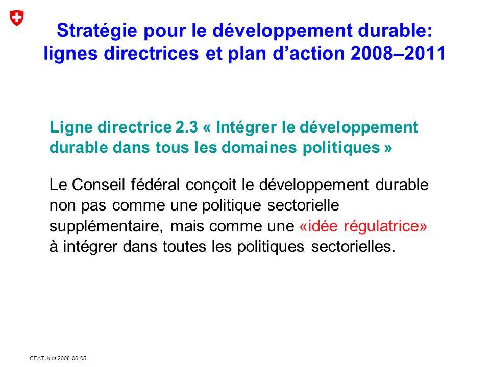 CEAT Jura 2008-06-05 Stratégie pour le développement durable: lignes directrices et plan d'action 2008–2011 Evaluation de la durabilité