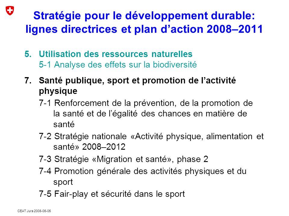 CEAT Jura 2008-06-05 5.Utilisation des ressources naturelles 5-1 Analyse des effets sur la biodiversité 7.Santé publique, sport et promotion de l'activité physique 7-1 Renforcement de la prévention, de la promotion de la santé et de l'égalité des chances en matière de santé 7-2 Stratégie nationale «Activité physique, alimentation et santé» 2008–2012 7-3 Stratégie «Migration et santé», phase 2 7-4 Promotion générale des activités physiques et du sport 7-5 Fair-play et sécurité dans le sport Stratégie pour le développement durable: lignes directrices et plan d'action 2008–2011