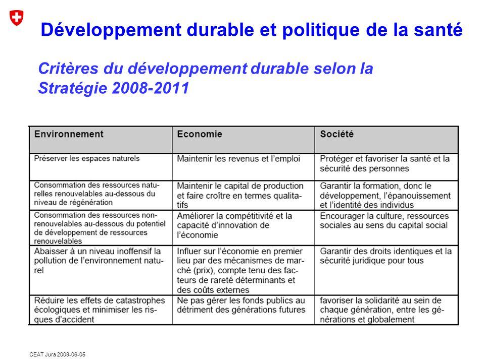 CEAT Jura 2008-06-05 Critères du développement durable selon la Stratégie 2008-2011 Développement durable et politique de la santé