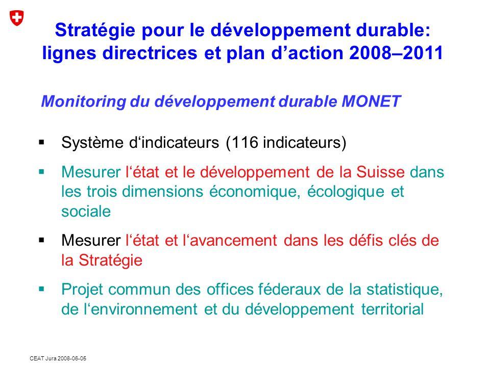 CEAT Jura 2008-06-05  Système d'indicateurs (116 indicateurs)  Mesurer l'état et le développement de la Suisse dans les trois dimensions économique, écologique et sociale  Mesurer l'état et l'avancement dans les défis clés de la Stratégie  Projet commun des offices féderaux de la statistique, de l'environnement et du développement territorial Stratégie pour le développement durable: lignes directrices et plan d'action 2008–2011 Monitoring du développement durable MONET