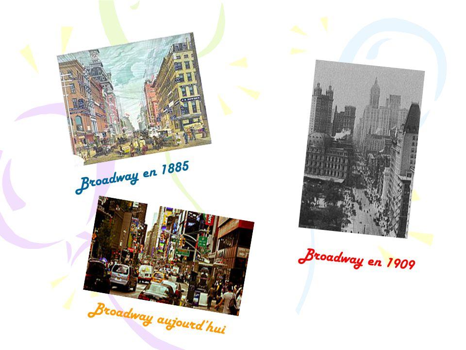 Broadway en 1909 Broadway aujourd'hui Broadway en 1885