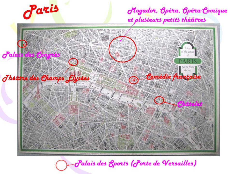 Paris Mogador, Opéra, Opéra-Comique et plusieurs petits théâtres Châtelet Comédie française Théâtre des Champs Elysées Palais des Congrès Palais des Sports (Porte de Versailles)