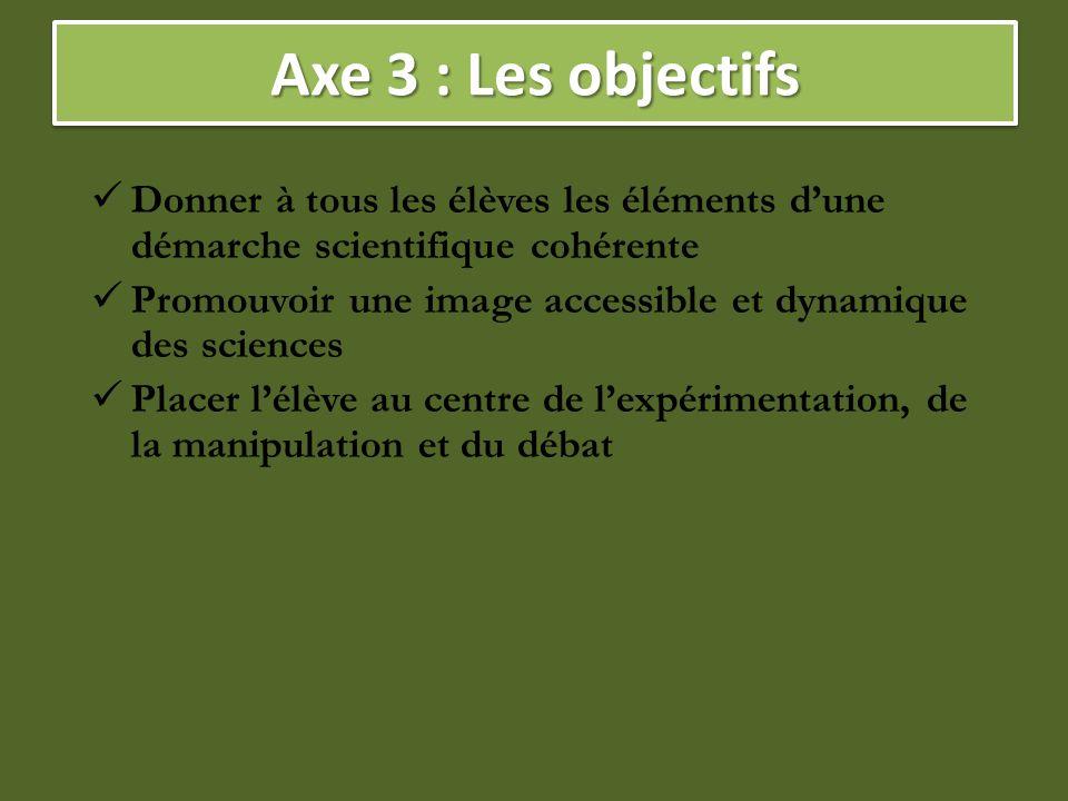 Axe 3 : Les objectifs Donner à tous les élèves les éléments d'une démarche scientifique cohérente Promouvoir une image accessible et dynamique des sci
