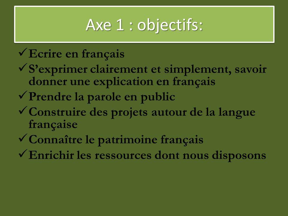 Axe 1 : objectifs: Ecrire en français S'exprimer clairement et simplement, savoir donner une explication en français Prendre la parole en public Const