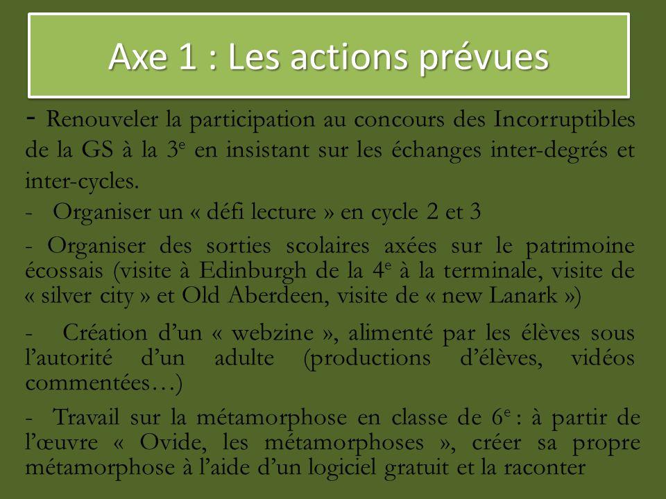 Axe 1 : Les actions prévues - Renouveler la participation au concours des Incorruptibles de la GS à la 3 e en insistant sur les échanges inter-degrés
