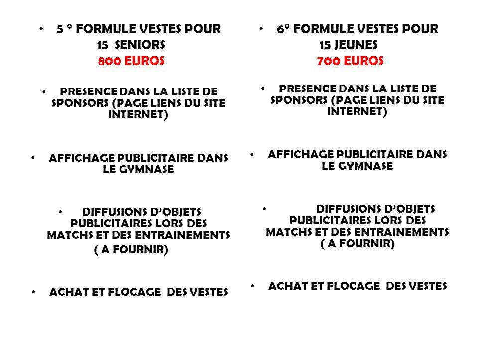 5 ° FORMULE VESTES POUR 15 SENIORS 800 EUROS PRESENCE DANS LA LISTE DE SPONSORS (PAGE LIENS DU SITE INTERNET) AFFICHAGE PUBLICITAIRE DANS LE GYMNASE DIFFUSIONS D'OBJETS PUBLICITAIRES LORS DES MATCHS ET DES ENTRAINEMENTS ( A FOURNIR) ACHAT ET FLOCAGE DES VESTES 6° FORMULE VESTES POUR 15 JEUNES 700 EUROS PRESENCE DANS LA LISTE DE SPONSORS (PAGE LIENS DU SITE INTERNET) AFFICHAGE PUBLICITAIRE DANS LE GYMNASE DIFFUSIONS D'OBJETS PUBLICITAIRES LORS DES MATCHS ET DES ENTRAINEMENTS ( A FOURNIR) ACHAT ET FLOCAGE DES VESTES