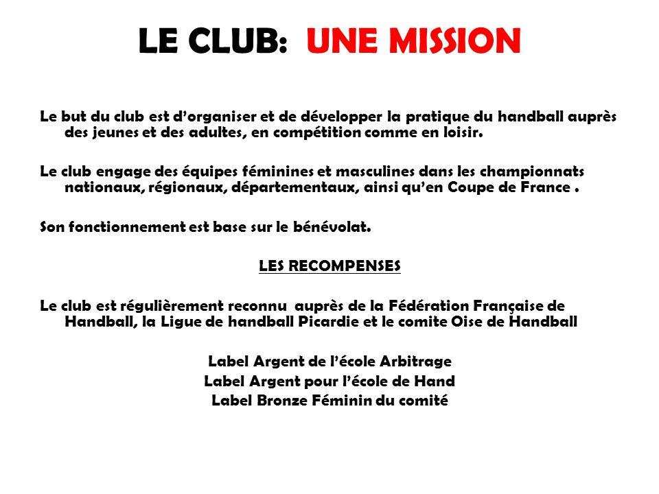 LE CLUB: UNE MISSION Le but du club est d'organiser et de développer la pratique du handball auprès des jeunes et des adultes, en compétition comme en
