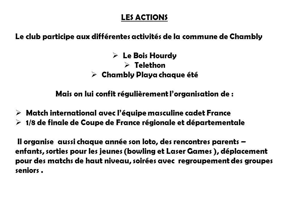 LES ACTIONS Le club participe aux différentes activités de la commune de Chambly  Le Bois Hourdy  Telethon  Chambly Playa chaque été Mais on lui co