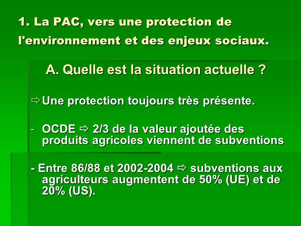 1. La PAC, vers une protection de l environnement et des enjeux sociaux.