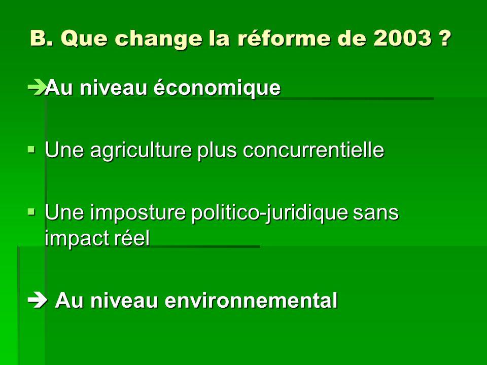 B. Que change la réforme de 2003 .