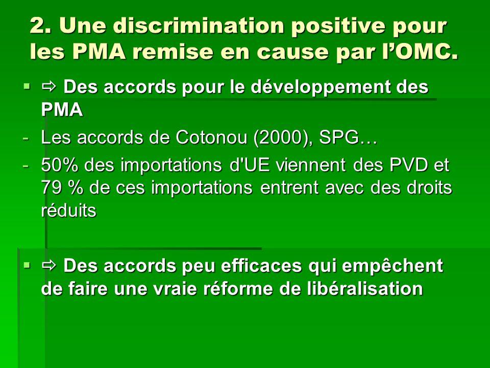 2. Une discrimination positive pour les PMA remise en cause par l'OMC.