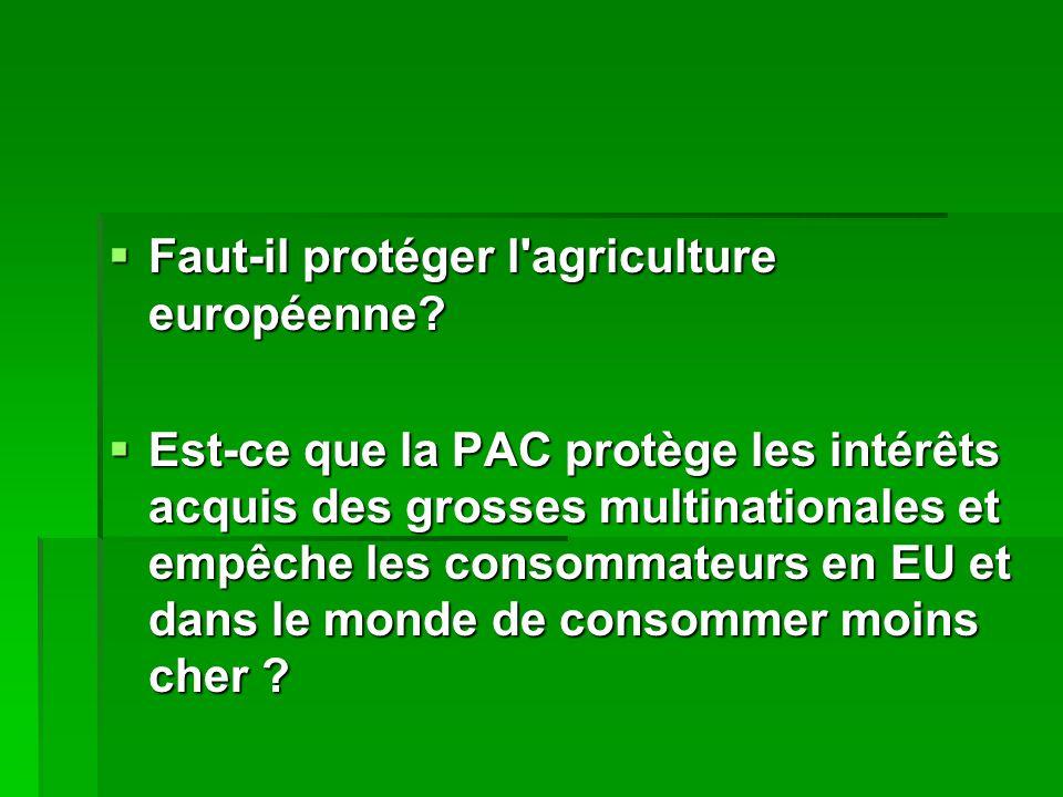  Faut-il protéger l agriculture européenne.  Faut-il protéger l agriculture européenne.