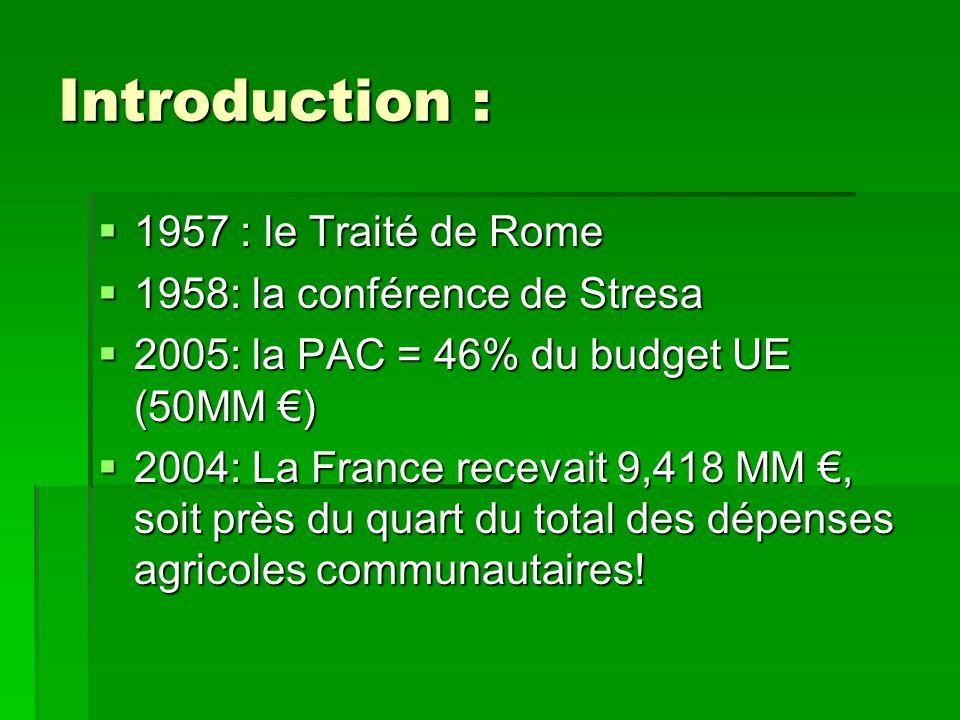 Introduction :  1957 : le Traité de Rome  1958: la conférence de Stresa  2005: la PAC = 46% du budget UE (50MM €)  2004: La France recevait 9,418 MM €, soit près du quart du total des dépenses agricoles communautaires!