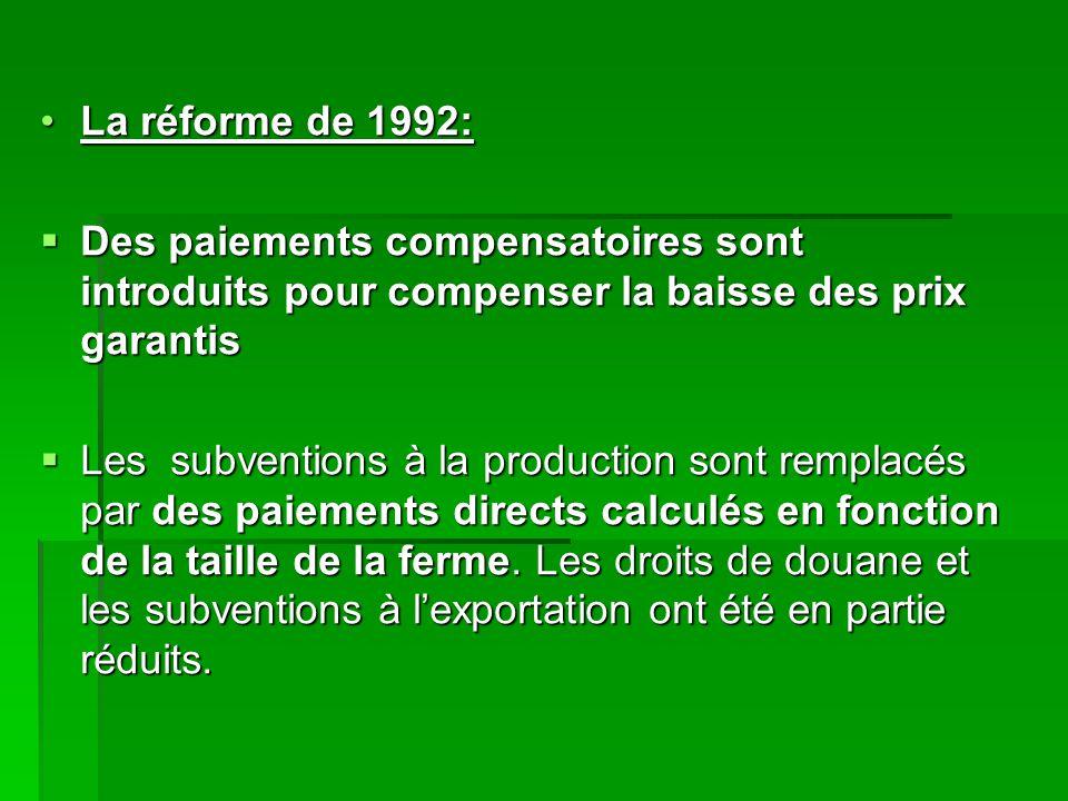 La réforme de 1992:La réforme de 1992:  Des paiements compensatoires sont introduits pour compenser la baisse des prix garantis  Les subventions à la production sont remplacés par des paiements directs calculés en fonction de la taille de la ferme.