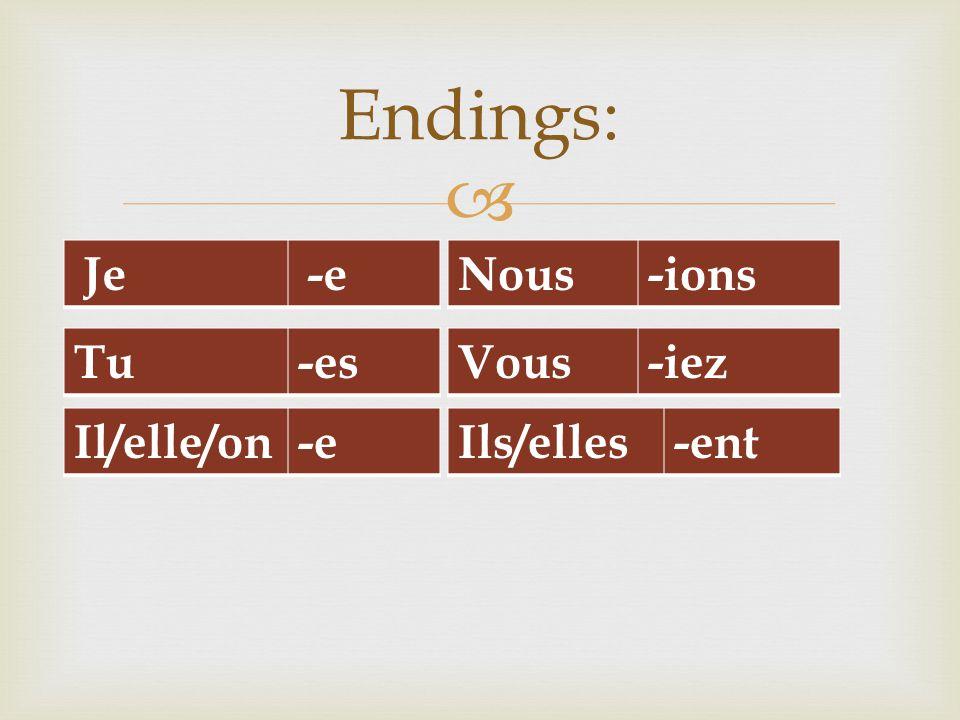  Je-e Endings: Tu-es Il/elle/on-e Vous-iez Ils/elles-ent Nous-ions