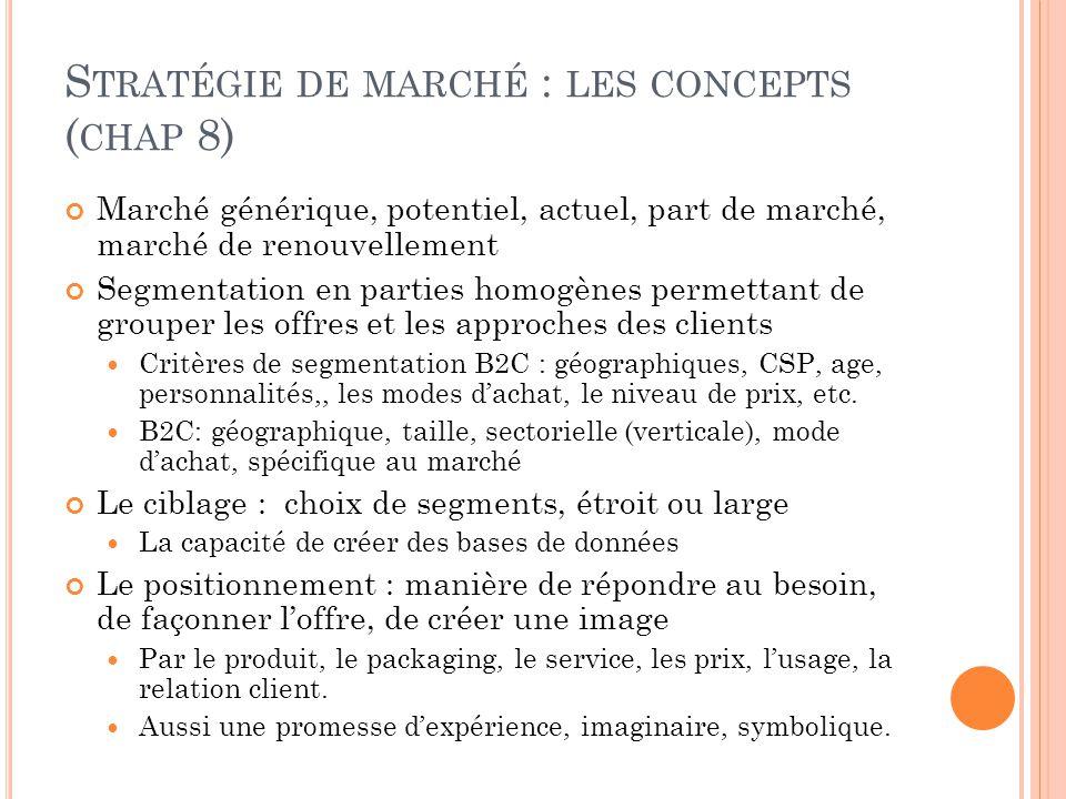 S TRATÉGIE DE MARCHÉ : LES CONCEPTS ( CHAP 8) Marché générique, potentiel, actuel, part de marché, marché de renouvellement Segmentation en parties ho