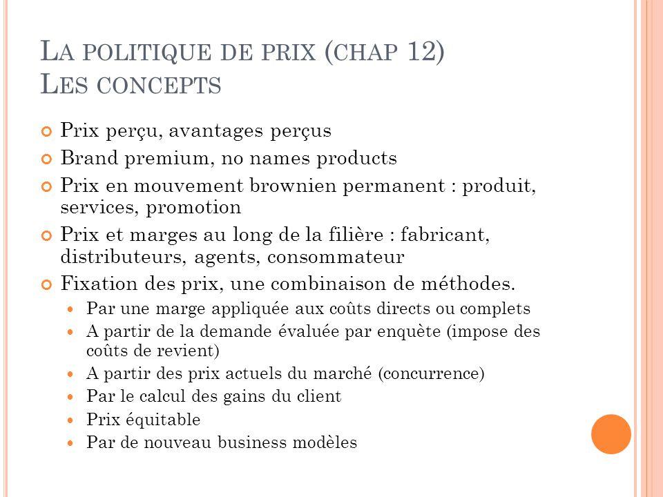 L A POLITIQUE DE PRIX ( CHAP 12) L ES CONCEPTS Prix perçu, avantages perçus Brand premium, no names products Prix en mouvement brownien permanent : pr