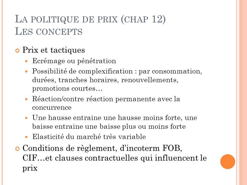 L A POLITIQUE DE PRIX ( CHAP 12) L ES CONCEPTS Prix et tactiques Ecrémage ou pénétration Possibilité de complexification : par consommation, durées, t