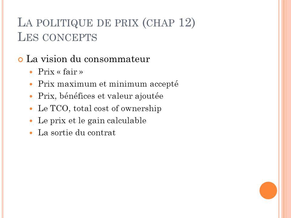 L A POLITIQUE DE PRIX ( CHAP 12) L ES CONCEPTS La vision du consommateur Prix « fair » Prix maximum et minimum accepté Prix, bénéfices et valeur ajout