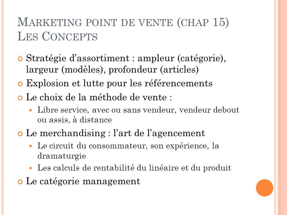 M ARKETING POINT DE VENTE ( CHAP 15) L ES C ONCEPTS Stratégie d'assortiment : ampleur (catégorie), largeur (modèles), profondeur (articles) Explosion