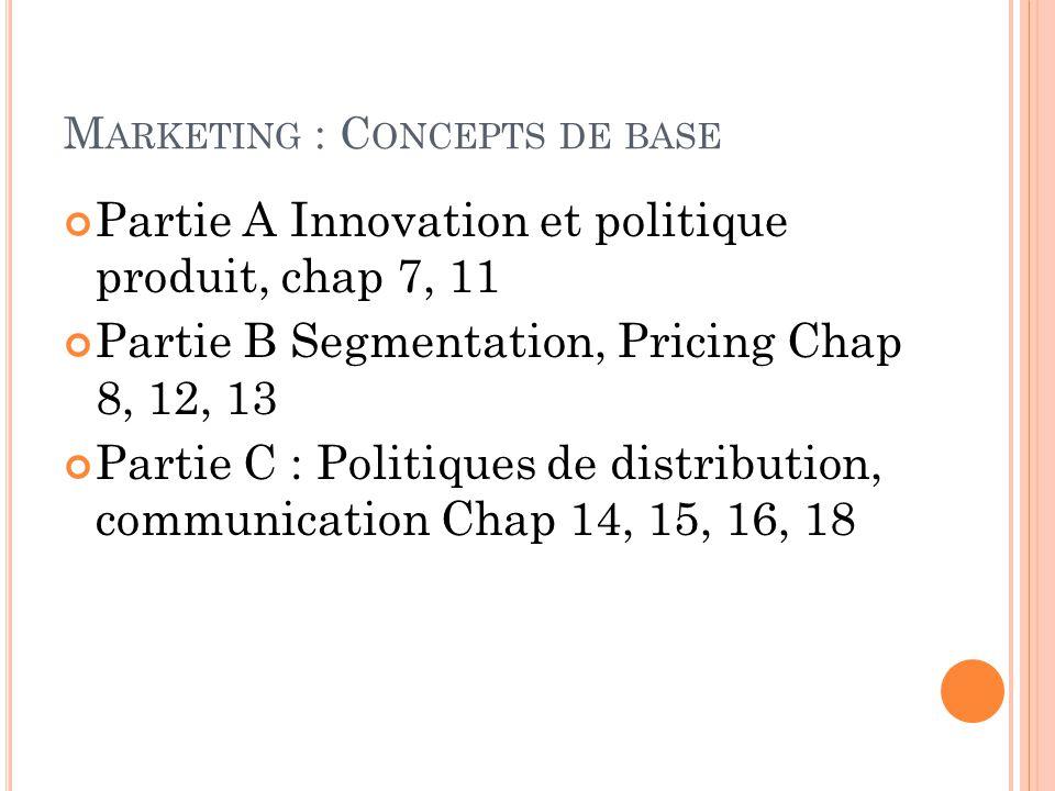M ARKETING : C ONCEPTS DE BASE Partie A Innovation et politique produit, chap 7, 11 Partie B Segmentation, Pricing Chap 8, 12, 13 Partie C : Politique