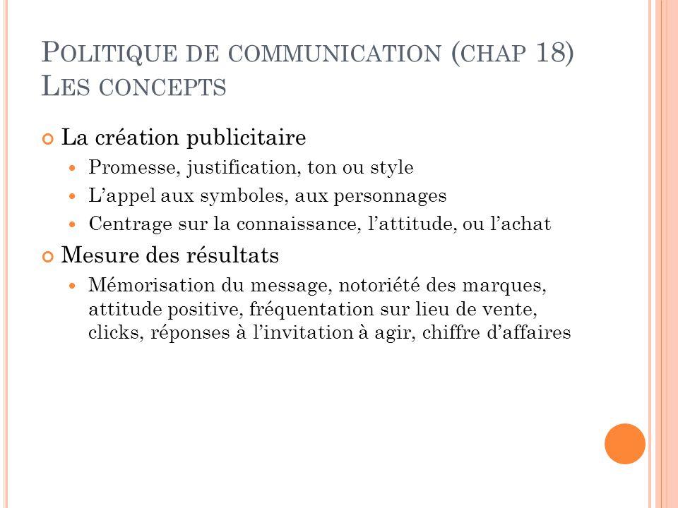 P OLITIQUE DE COMMUNICATION ( CHAP 18) L ES CONCEPTS La création publicitaire Promesse, justification, ton ou style L'appel aux symboles, aux personna