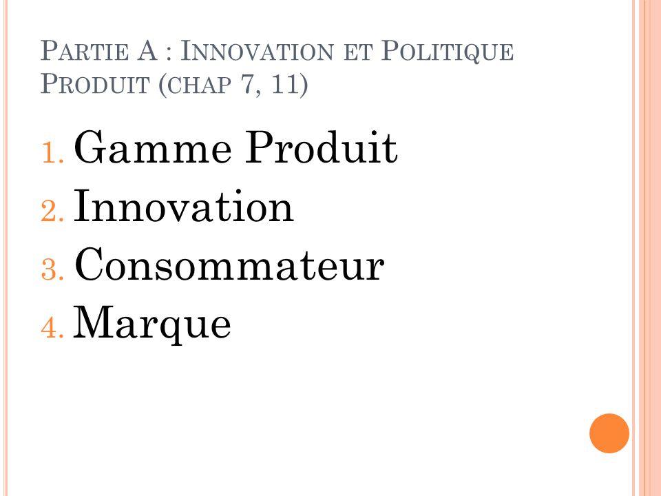 P ARTIE A : I NNOVATION ET P OLITIQUE P RODUIT ( CHAP 7, 11) 1. Gamme Produit 2. Innovation 3. Consommateur 4. Marque