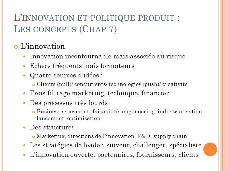 L' INNOVATION ET POLITIQUE PRODUIT : L ES CONCEPTS (C HAP 7) L'innovation Innovation incontournable mais associée au risque Echecs fréquents mais form