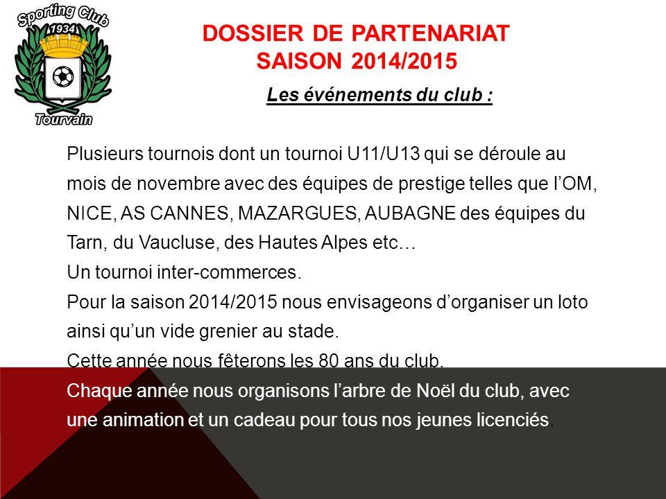 DOSSIER DE PARTENARIAT SAISON 2014/2015 Les événements du club : Plusieurs tournois dont un tournoi U11/U13 qui se déroule au mois de novembre avec de