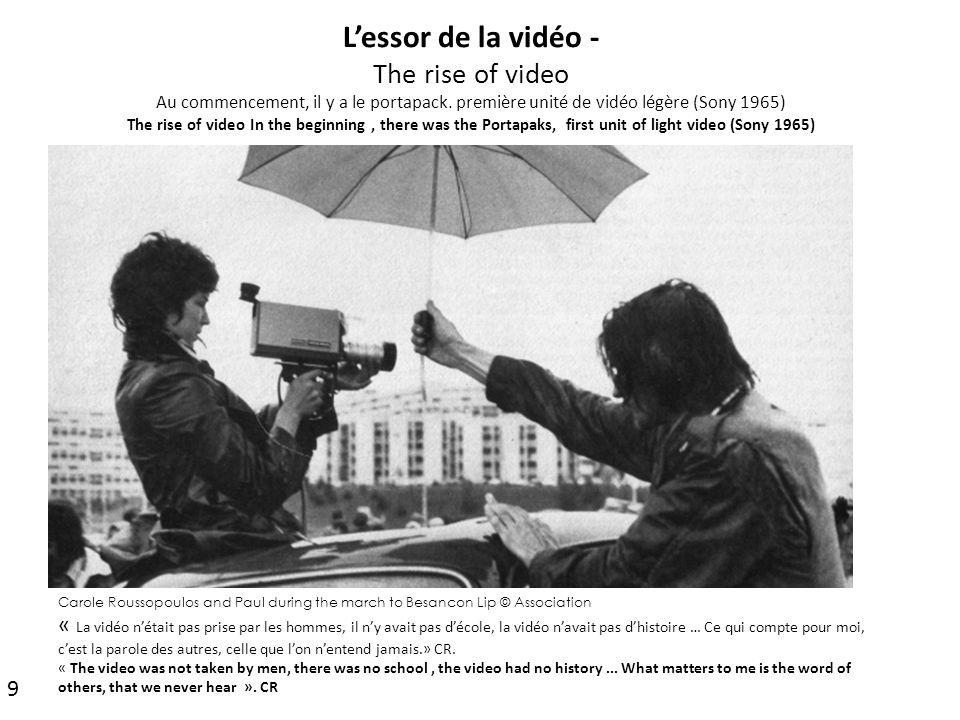 L'essor de la vidéo - The rise of video Au commencement, il y a le portapack. première unité de vidéo légère (Sony 1965) The rise of video In the begi