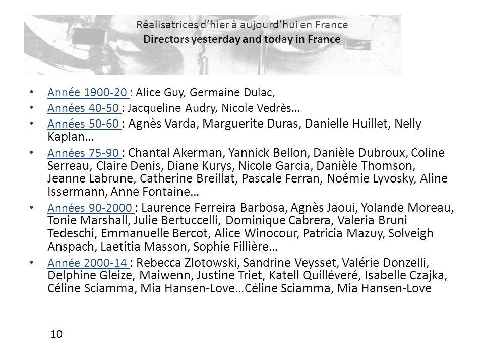 Réalisatrices d'hier à aujourd'hui en France Directors yesterday and today in France Année 1900-20 : Alice Guy, Germaine Dulac, Années 40-50 : Jacquel